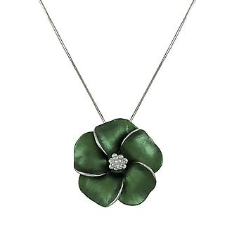 Eternal Collection Pansy Evergreen Enamel Flower Silver Tone Pendant Necklace