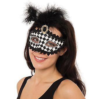 Bristol nyhed unisex Harlequin ternet øjenmaske med top fjer