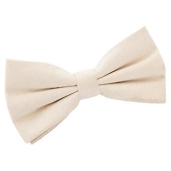 Beige Suede Pre-Tied Bow Tie