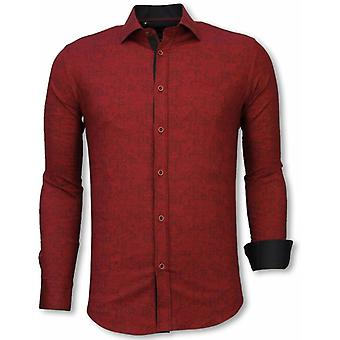 E Shirts - Slim Fit - Paisley Pattern - Bordeaux