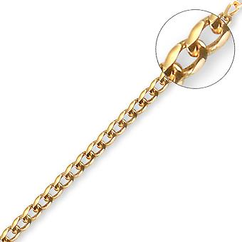 Jewelco London Unisex Solid 9ct Yellow Gold Flat Curb 1.5mm Gauge Pendant Chain Necklace