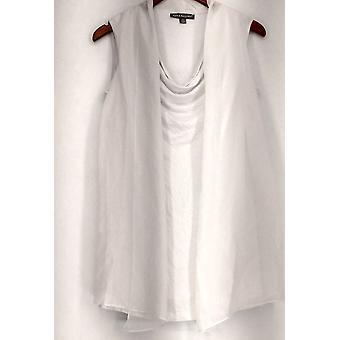 Kate & Mallory Top Drape Front Sleeveless Tunic w/ Chiffon White A426085