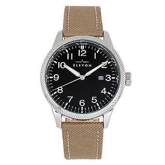Elevon Bandit Leather-Band Watch w/Date - Tan/Black