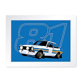 Mk2 Escort RS1800 Rally Car 81 Framed Print Home Decor Wall Art Man Cave