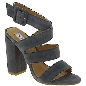 Steve Madden vrouwen ' s hoge hakken sandalen met gesp in grijs suede leder