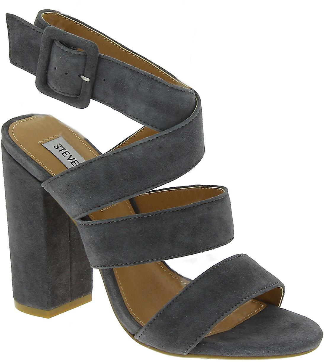 Steve Madden Women's high heels sandals with buckle in gray suede leather Qd68p