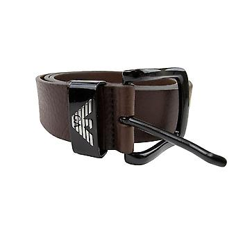 Emporio Armani Eagle Buckle Belt Dark Tan
