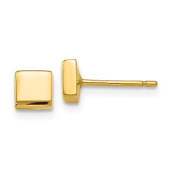 14k Amarelo Ouro Hollow Praça Polida Brincos Quadrados De 4x4mm Joias para Mulheres
