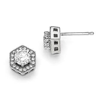925 Sterling Silver Pave Rhodium plated and CZ Cubic Zirconia Simulated Diamond Brilliant Embers Hexagon Post Earrings J