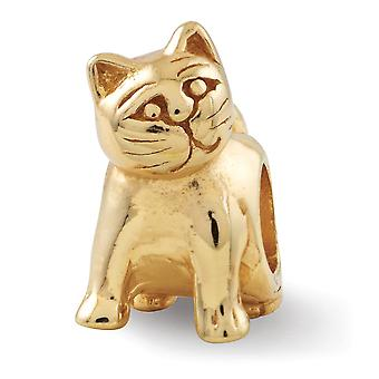 925 Sterling Silber poliert Antik Finish Gold-Flashed Reflexionen Katze Perle Charme
