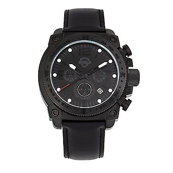 Shield Tesei Chronograph Leather-Band Men's Diver Watch w/Date - Black