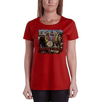 The Beatles Sgt Pepper Official Womens New Red skinny fit T Shirt