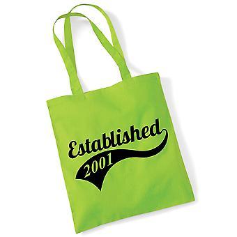 18th Birthday Tote Bag Established 2001 Novelty Birthday Gifts