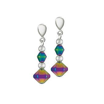 Eeuwige collectie Vivacity Rainbow hematiet Drop Clip op oorbellen