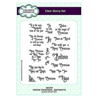 Creative Expressions Clear Stamp Set - Festive Traditions - Sentiments