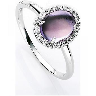 Gemstone Ring Diamonds 0.13ct. Amethyst 1.3 ct. Size 54