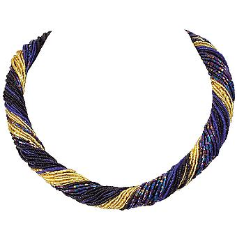 Eternal Collection Opulenza Blue And Gold Venetian Murano Glass Torsade Necklace