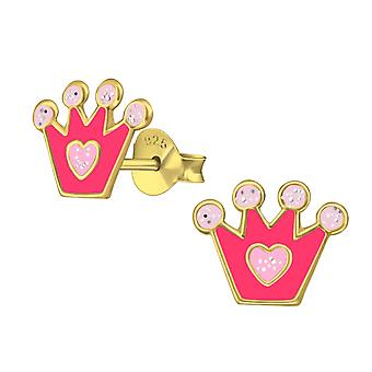 Crown - 925 Sterling Silver Colourful Ear Studs - W38159X