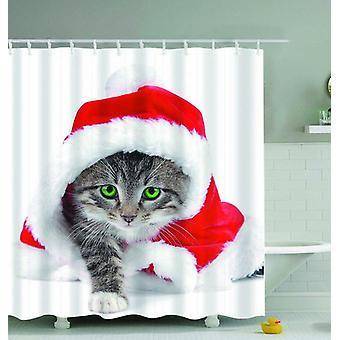 Il gattino è pronto per la tenda della doccia di Natale