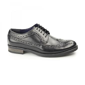 Silver Street London Downing Mens Leather Longwing Derby Brogues Black