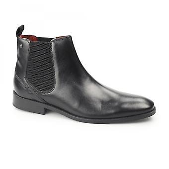 Basis London Cheshire Herren Waxy Leder Chelsea Stiefel schwarz
