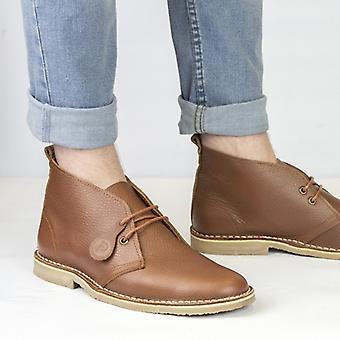 Popps Original Unisex Leather Desert Boots Tan