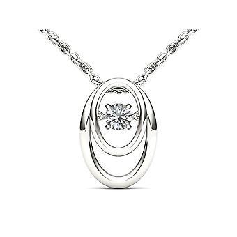 Igi مصدقة 10k الذهب الأبيض 0.15 ct الماس الطبيعي الرقص قلادة قلادة