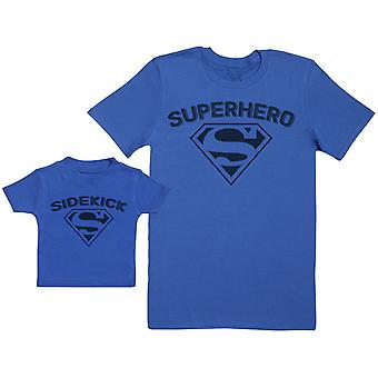 Sidekick & Superhero - Baby Gift Set with Baby T-Shirt & Father's T-Shirt