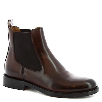Leonardo sko kvinner ' s håndlaget rund tå ankel støvler mørk brun kalv skinn
