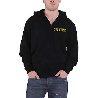 Guns N Roses Hoodie Classic Band Logo new Official Mens Black Zipped Black