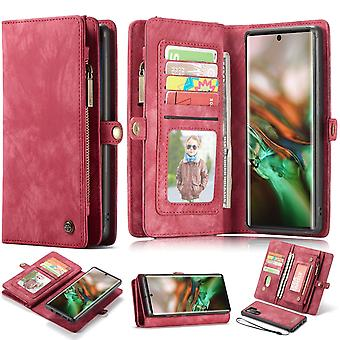 For Samsung Galaxy Note 10+ Plus Case, Wallet PU Leather Detachable Cover, Red