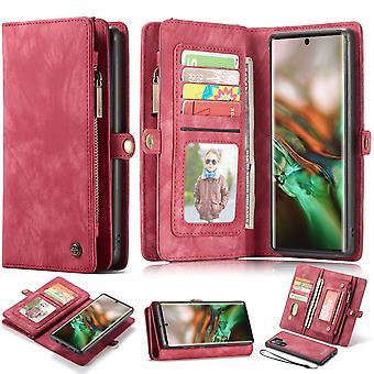 Für Samsung Galaxy Note 10 + Plus Fall, Brieftasche PU Leder abnehmbare Abdeckung, rot