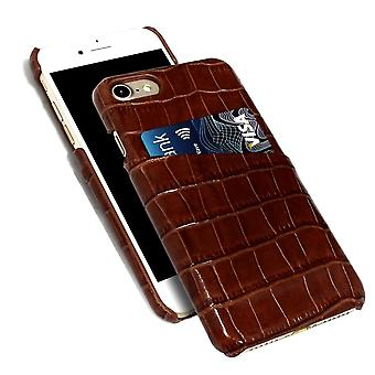 For iPhone 8,7 Case,iCoverLover Crocodile Shell Genuine Cow Leather,Dark Brown