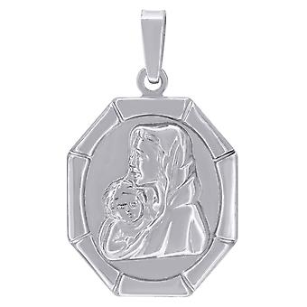 925 Sterling Silver Unisex CZ Virgin Mary and Child Religious Charm Pendant Necklace Measures 32.5x19.5mm W