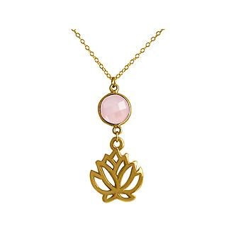 GEMSHINE Halskette Lotus Blume Rosenquarz Silber oder vergoldet, Made in Spain