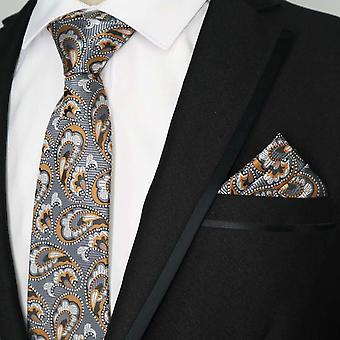 Gun metal grey & orange paisley tie & pocket square set
