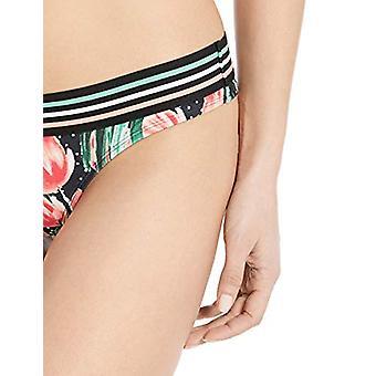 EIDON Women's Kylie Low Rise Bikini Bottom Swimsuit, Black Nirvana Floral Pri...