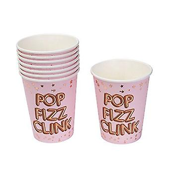 Party Paper Cups 'Pop Fizz Clink'' - Pink - Birthday/ Anniversary x 8