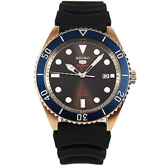 Seiko 5 Sports Automatic Brown Dial Black Silicone Strap Men-apos;s Watch SRPB96K1 RRP '#131;â '#128;'#154;'#130;'199