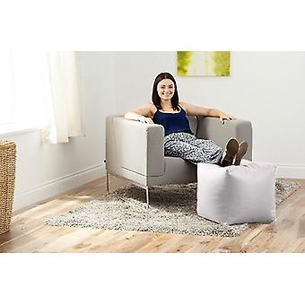 White Faux Leather Cube Bean Bag Pouffe Foot Stool Beanbag Footstool Square Seat