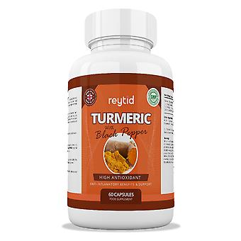 REYTID 700g Turmeric with Black Pepper Tablet Capsules | Vegan Friendly | 60 Capsules | 2 Month Supply | Best Curcumin Absorption