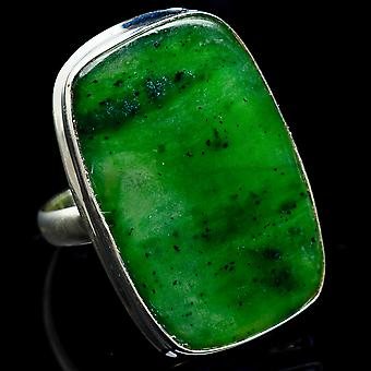 Huge Nephrite Jade Ring Size 12.5 (925 Sterling Silver)  - Handmade Boho Vintage Jewelry RING3260