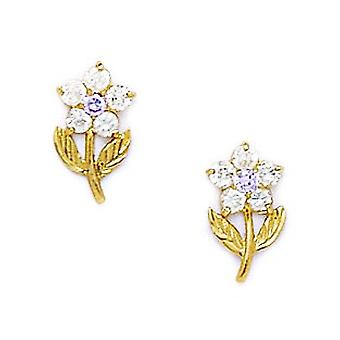 14k Yellow Gold June Lt Purple CZ Flower With Leaves Screw back Earrings Measures 11x6mm Jewelry Gifts for Women
