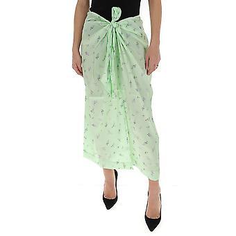 Ganni F4657776 Women's Green Cotton Skirt