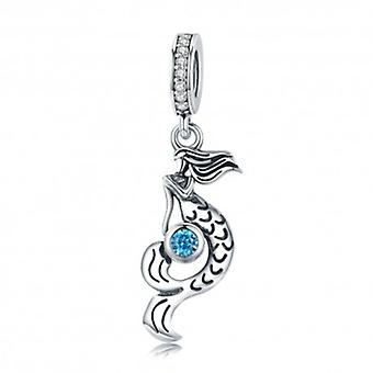 Sterling Silver Pendant Charm Mermaid With Blue Zirconia - 5701