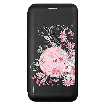 Funda para Samsung Galaxy A51 negro patrón flores y mariposas