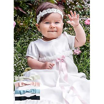 Christening Gown Grace Of Sweden, Grace-rose With Short Sleeve And Free Choice Of Color On Bow