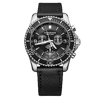 Victorinox Swiss Army Maverick Black Dial Black Leather Strap Men's Watch 241864 RRP £499