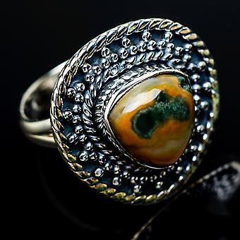 Ocean Jasper Ring Size 8 (925 Sterling Silver)  - Handmade Boho Vintage Jewelry RING11711