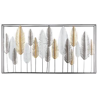 Veelkleurige metalen lijnen wanddecoratie 134,5x7x68,5 cm